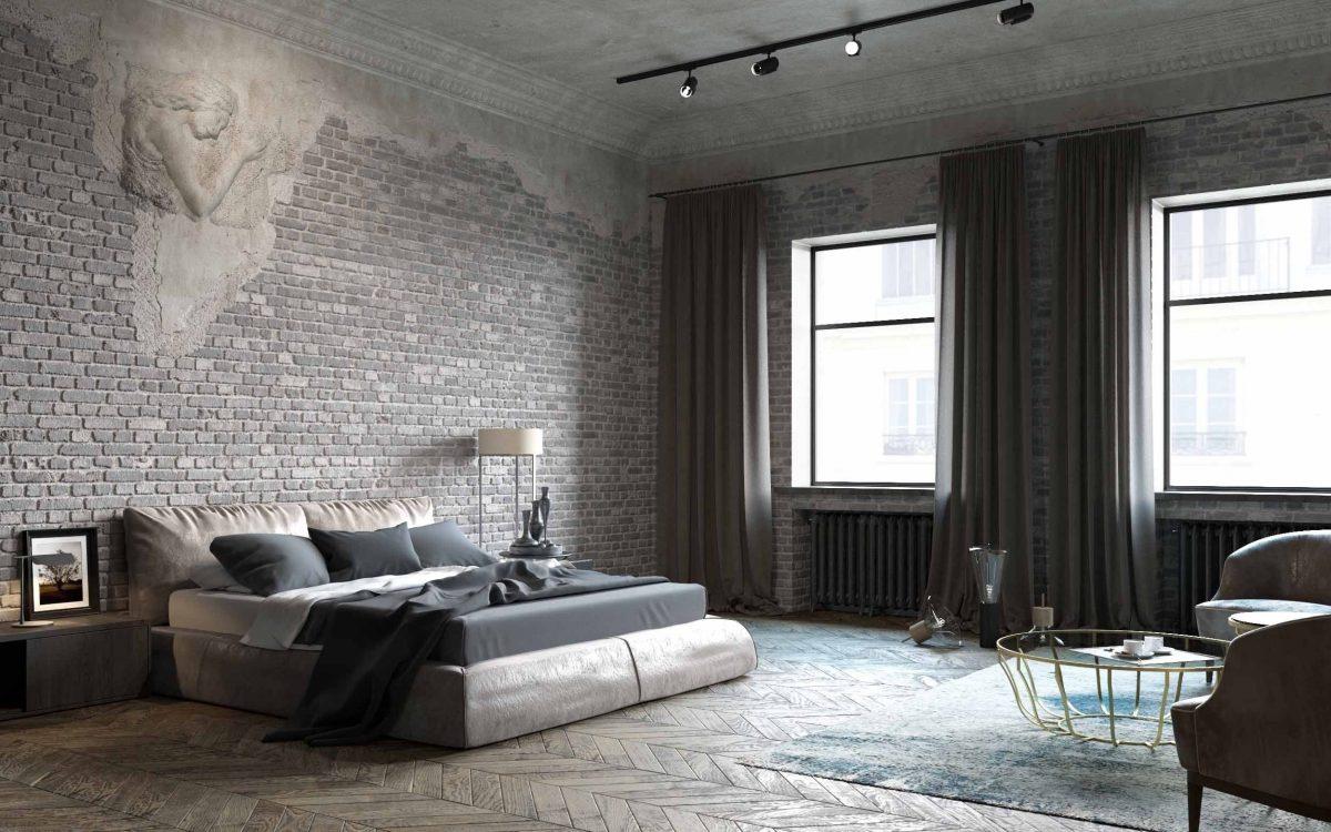 Дизайн спальни в стиле лофт