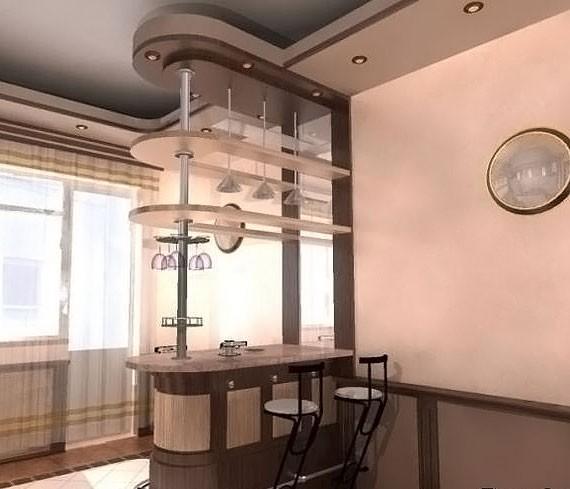 Барная стойка в стене, у нее и не только: виды, материалы, решения
