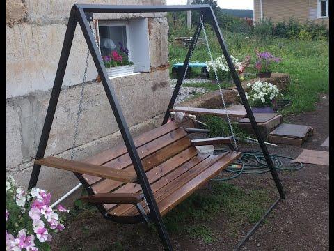 Металлические садовые качели своими руками, чертежи, виды, нюансы
