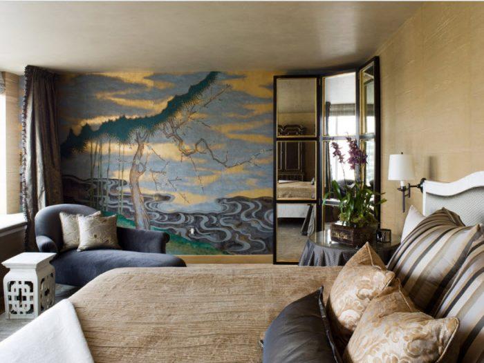 Рисунки на стене в спальне: несколько вариантов, легких и не очень