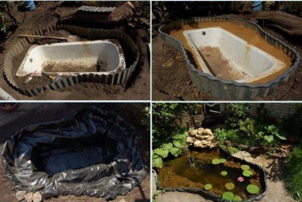 Как сделать пруд из ванны: шедевральный водоем, минимальные потери