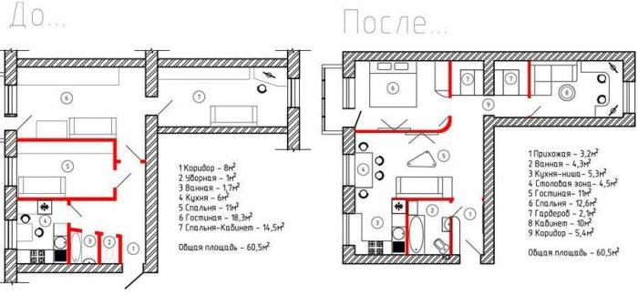Перепланировка 3 х комнатной хрущевки: чудо превращения возможно