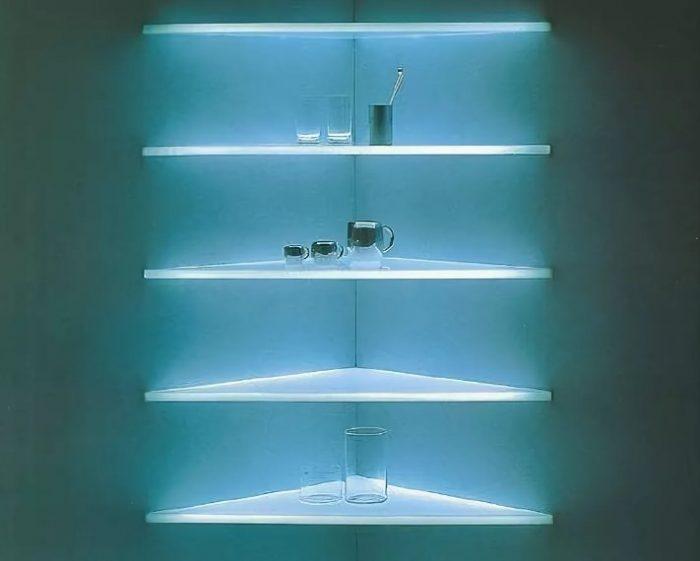 Как сделать подсветку полок: виды освещения и особенности монтажа