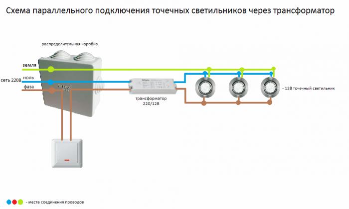 Как подключить точечные светильники: возможные схемы и варианты установки